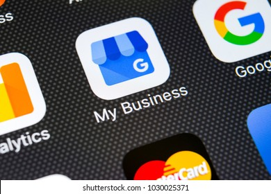 Sankt-Petersburg, Russia, February 20, 2018: Google My Business application icon on Apple iPhone X screen close-up. Google My Business icon. Google My business application. Social media network
