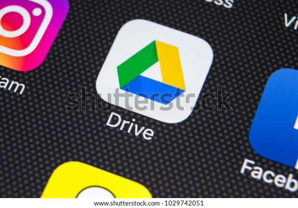 Sankt-Petersburg, Russia, February 20, 2018: Google Drive application icon on Apple iPhone X screen close-up. Google drive icon. Google Drive application. Social media network