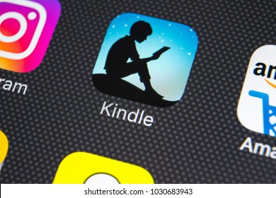 Sankt-Petersburg, Russia, February 21, 2018: Amazon Kindle application icon on Apple iPhone X screen close-up. Amazon Kindle app icon. Amazon kindle application. Social media network