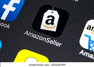 Sankt-Petersburg, Russia, February 22, 2018: Amazon Seller application icon on Apple iPhone X screen close-up. Google AmazonSeller app icon. Google Amazon Seller application. Social media network