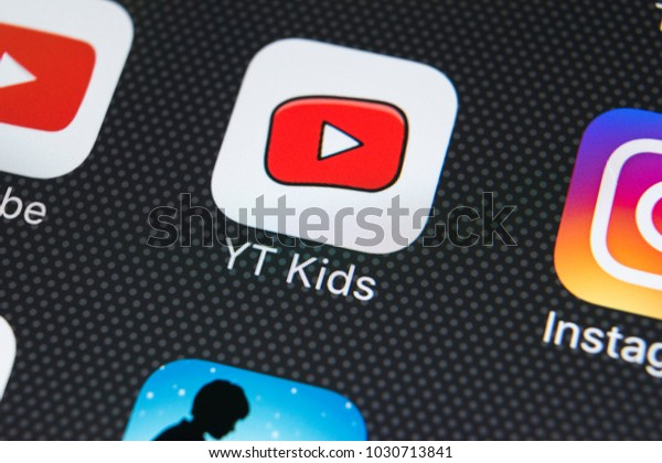 Sankt-Petersburg, Russia, February 22, 2018: YouTube Kids application icon on Apple iPhone X screen close-up. Youtube Kids app icon. YouTube kids application. Social media network