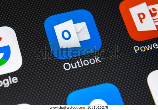 Sankt-Petersburg, Russia, February 22, 2018: Microsoft Outlook application icon on Apple iPhone X screen close-up. Microsoft outlook app icon. Microsoft OutLook application. Social media network