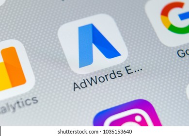 Sankt-Petersburg, Russia, February 28, 2018: Google AdWords express application icon on Apple iPhone X screen close-up. Google Ad Words Express icon. Google Adwords application. Social media network