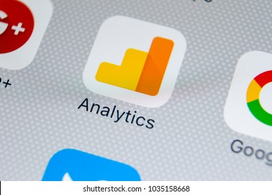 Sankt-Petersburg, Russia, February 28, 2018: Google Analytics application icon on Apple iPhone X screen close-up. Google Analytics icon. Google Analytics application. Social media network