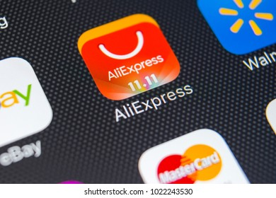 Sankt-Petersburg, Russia, February 9, 2018: Aliexpress application icon on Apple iPhone X smartphone screen close-up. Aliexpress app icon. Aliexpress.com is popular e-commerce application.