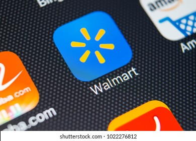 Sankt-Petersburg, Russia, February 9, 2018: Walmart application icon on Apple iPhone X screen close-up. Walmart app icon. Walmart.com is multinational retailing corporation