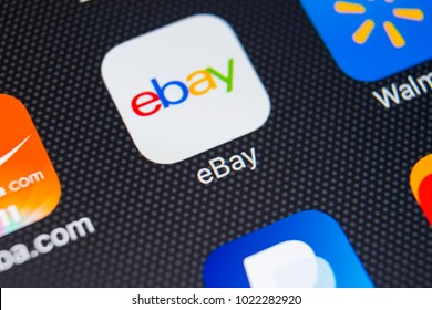 Sankt-Petersburg, Russia, February 9, 2018: eBay application icon on Apple iPhone X screen close-up. eBay app icon. eBay.com is largest online auction and shopping websites.