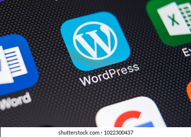 Sankt-Petersburg, Russia, February 9, 2018: Wordpress application icon on Apple iPhone X screen close-up. Wordpress app icon. Wordpress.com application