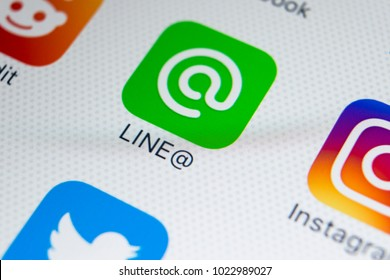 Sankt-Petersburg, Russia, February 9, 2018: Line application icon on Apple iPhone X screen close-up. Line app icon. Line is an online social media network. Social media app