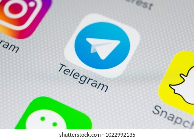 Sankt-Petersburg, Russia, February 9, 2018: Telegram application icon on Apple iPhone X screen close-up. Telegram app icon. Telegram is an online social media network. Social media app