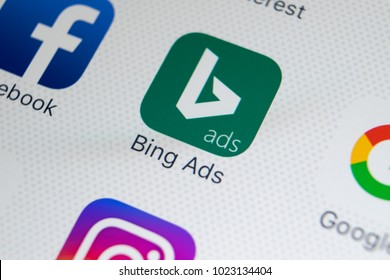Sankt-Petersburg, Russia, February 9, 2018: Bing application icon on Apple iPhone X screen close-up. Bing ads app icon. Bing ads is online advertising application. Social media network.