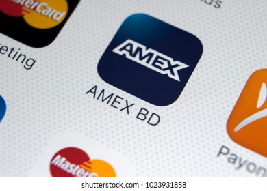 Sankt-Petersburg, Russia, February 9, 2018: Amex application icon on Apple iPhone 8 smartphone screen close-up. Amex app icon. Amex is an online electronic payment system .