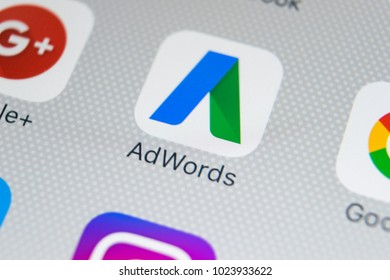 Sankt-Petersburg, Russia, February 9, 2018: Google Adwords application icon on Apple iPhone X screen close-up. Google Ad Words icon. Google adwords application. Social media network