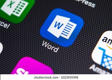 Sankt-Petersburg, Russia, February 9, 2018: Microsoft word application icon on Apple iPhone X screen close-up. Microsoft word icon. Microsoft office on mobile phone. Social media