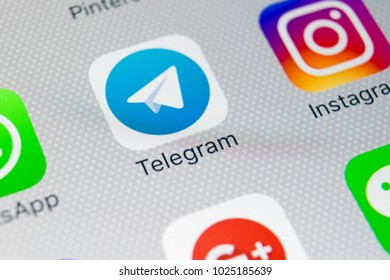 Sankt-Petersburg, Russia, February 9, 2018: Telegram application icon on Apple iPhone X screen close-up. Telegram app icon. Telegram is an online social media network. Social media app
