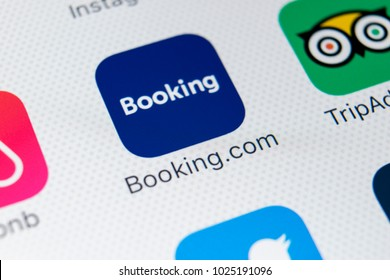 Sankt-Petersburg, Russia, February 9, 2018: Booking.com application icon on Apple iPhone X screen close-up. Booking app icon. Booking.com is  online website for booking hotel rooms. Social media app