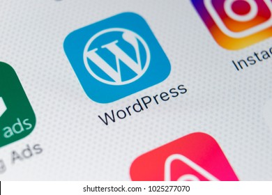 Sankt-Petersburg, Russia, February 9, 2018: Wordpress application icon on Apple iPhone X screen close-up. Wordpress app icon. Wordpress.com application. Social network
