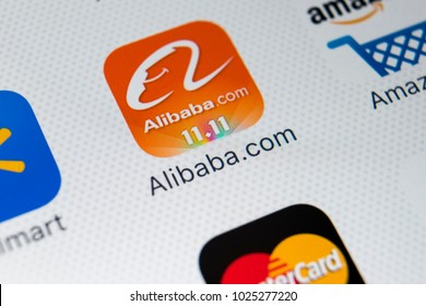 Sankt-Petersburg, Russia, February 9, 2018: Alibaba application icon on Apple iPhone X smartphone screen close-up. Alibaba app icon. Alibaba.com is popular e-commerce application.