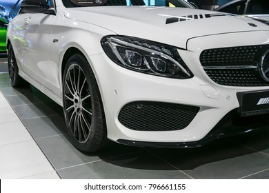 Sankt-Petersburg, Russia, January 12, 2018: Front view of a Mercedes Benz C 43 AMG 2018. Headlight system. Car exterior details.