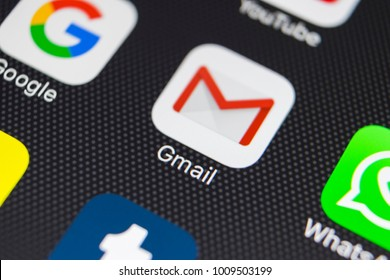 Sankt-Petersburg, Russia, January 24, 2018: Google Gmail application icon on Apple iPhone 8 smartphone screen close-up. Gmail app icon. Gmail is the most popular Internet online e-mail service
