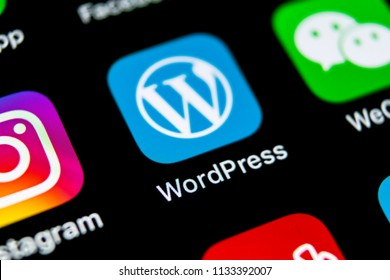 Sankt-Petersburg, Russia, July 11, 2018: Wordpress application icon on Apple iPhone X screen close-up. Wordpress app icon. Wordpress.com application. Social network