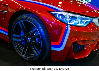 Sankt-Petersburg Russia July 21 2017: Front view of a BMW M4 sports car. M Performance Edition. Car exterior details.
