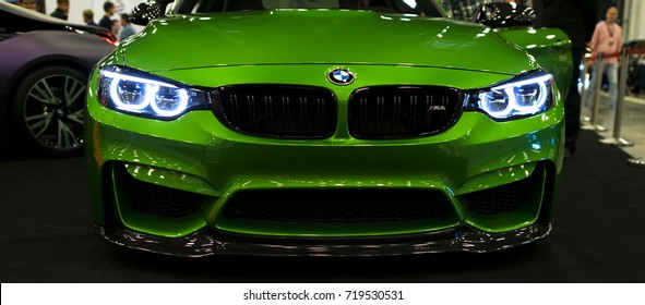 Sankt-Petersburg, Russia July 21 2017: Front view of a BMW M4 sports car. M Performance Edition. Car exterior details. Photo Taken at Royal Auto Show July 21