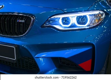 Sankt-Petersburg, Russia July 21 2017: Front view of a BMW M2 sports car. M Performance Edition. Car exterior details. Photo Taken at Royal Auto Show July 21