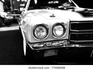 Sankt-Petersburg, Russia, July 21, 2017: Front view of a great retro american muscle car Chevrolet Camaro SS. Car exterior details. Black and white. Photo Taken on Royal Auto Show  July 21