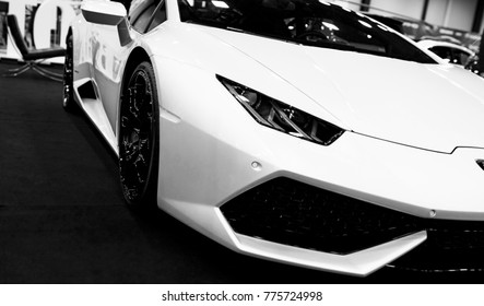 Sankt-Petersburg, Russia July 21 2017: Front view of a White Luxury sportcar Lamborghini Huracan LP 610-4. Car exterior details. Black and white. Photo Taken on Royal Auto Show July 21