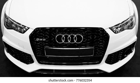 Sankt-Petersburg, Russia, July 21, 2017: Front view of a blue modern luxury blue sport car Audi RS 6 Avant Quattro 2017. Car exterior details. Black and white.