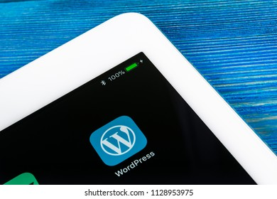 Sankt-Petersburg, Russia, July 6, 2018: Wordpress application icon on Apple iPad Pro screen close-up in jeans pocket. Wordpress app icon. Wordpress.com application. Social network