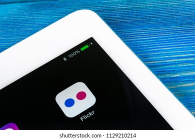 Sankt-Petersburg, Russia, July 6, 2018: Flickr application icon on Apple iPad Pro smartphone screen close-up. Flickr app icon. Social media icon. Social network