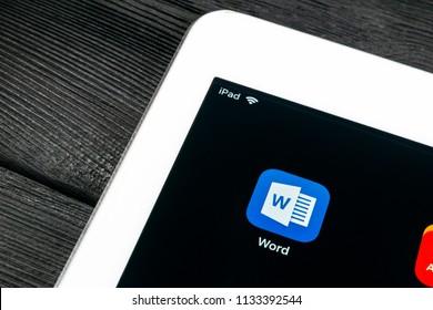 Sankt-Petersburg, Russia, July 6, 2018: Microsoft word application icon on Apple iPad Pro screen close-up. Microsoft office word icon. Microsoft office on mobile phone. Social media