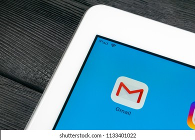 Sankt-Petersburg, Russia, July 6, 2018: Google Gmail application icon on Apple iPad Pro smartphone screen close-up. Gmail app icon. Gmail is  popular Internet online e-mail. Social media icon