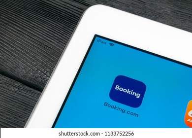 Sankt-Petersburg, Russia, July 6, 2018: Booking.com application icon on Apple iPad Pro screen close-up. Booking app icon. Booking.com.  Social media app. Social network