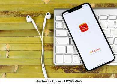 Sankt-Petersburg, Russia June 2 2018: Aliexpress application icon on Apple iPhone X smartphone screen close-up. Aliexpress app icon. Aliexpress.com is popular e-commerce application. Social media icon