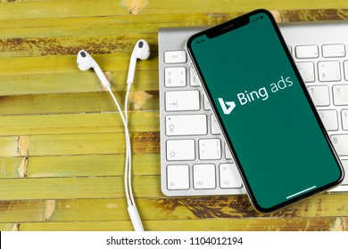 Sankt-Petersburg, Russia, June 2, 2018: Bing application icon on Apple iPhone X screen close-up. Bing ads app icon. Bing ads is online advertising application. Social media network.