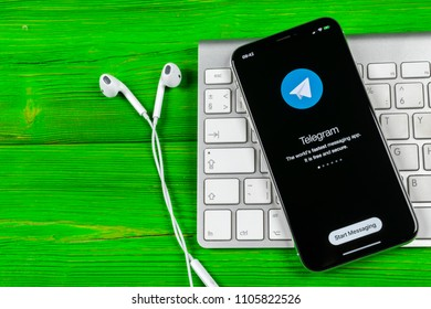 Sankt-Petersburg, Russia, June 2, 2018: Telegram X application icon on Apple iPhone X screen close-up. Telegram X app icon. Telegram X is an online social media network. Social media app