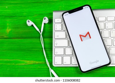 Sankt-Petersburg, Russia, June 2, 2018: Google Gmail application icon on Apple iPhone X smartphone screen close-up. Gmail app icon. Gmail is  popular Internet online e-mail. Social media icon