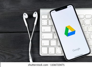 Sankt-Petersburg, Russia, June 2, 2018: Google Drive application icon on Apple iPhone X screen close-up. Google drive icon. Google Drive application. Social media network