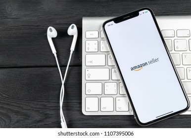 Sankt-Petersburg, Russia, June 2, 2018: Amazon Seller application icon on Apple iPhone X screen close-up. AmazonSeller app icon. Amazon Seller application. Social media icon