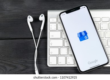 Sankt-Petersburg, Russia, June 2, 2018: Google My Business application icon on Apple iPhone X screen close-up. Google My Business icon. Google My business application. Social media network