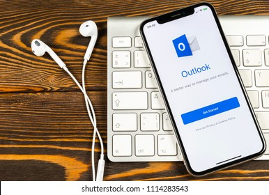 Sankt-Petersburg, Russia, June 2 2018: Microsoft Outlook office application icon on Apple iPhone X screen close-up. Microsoft outlook app icon. Microsoft OutLook application. Social media network