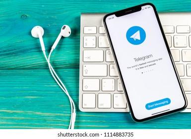 Sankt-Petersburg, Russia, June 2, 2018: Telegram application icon on Apple iPhone X screen close-up. Telegram app icon. Telegram is an online social media network. Social media app