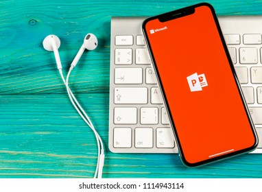 Sankt-Petersburg, Russia, June 2, 2018: Microsoft office Powerpoint application icon on Apple iPhone X screen close-up. PowerPoint app icon. Microsoft Power Point application. Social media network