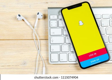 Sankt-Petersburg, Russia, June 2, 2018: Snapchat application icon on Apple iPhone X smartphone screen close-up. Snapchat app icon. Social media icon. Social network