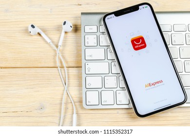 Sankt-Petersburg, Russia, June 2, 2018: Aliexpress application icon on Apple iPhone X smartphone screen. Aliexpress app icon. Aliexpress.com is popular e-commerce application. Social media icon