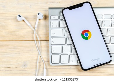 Sankt-Petersburg, Russia, June 2, 2018: Google Chrome application icon on Apple iPhone X screen close-up. Google Chrome app icon. Google Chrome application. Social media network