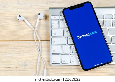 Sankt-Petersburg, Russia, June 2, 2018: Booking.com application icon on Apple iPhone X screen close-up. Booking app icon. Booking.com.  Social media app. Social network